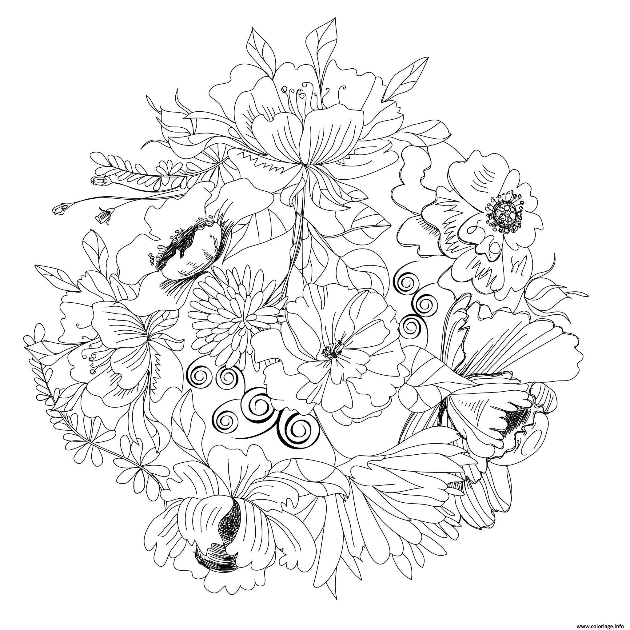 Coloriage nature fleurs ronde de fleurs dessin - Coloriage nature a imprimer ...