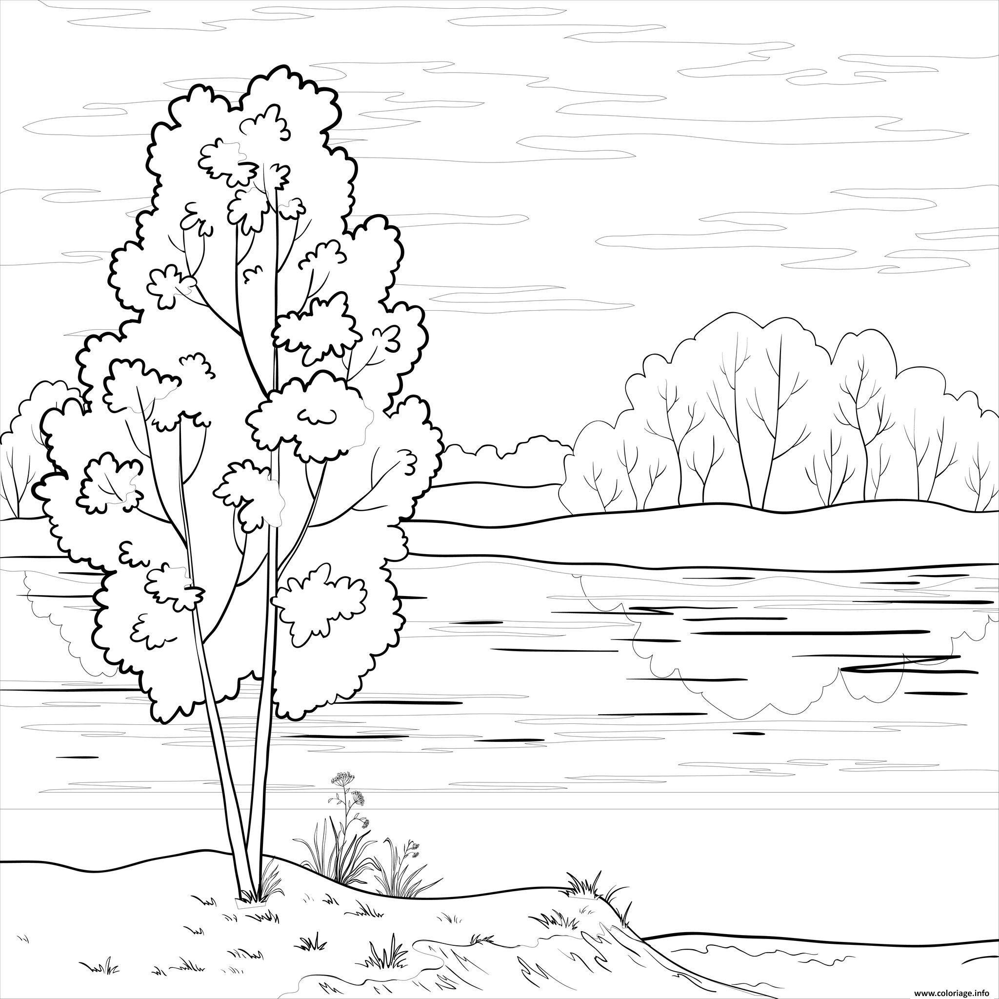 Dessin paysage naturel Coloriage Gratuit à Imprimer