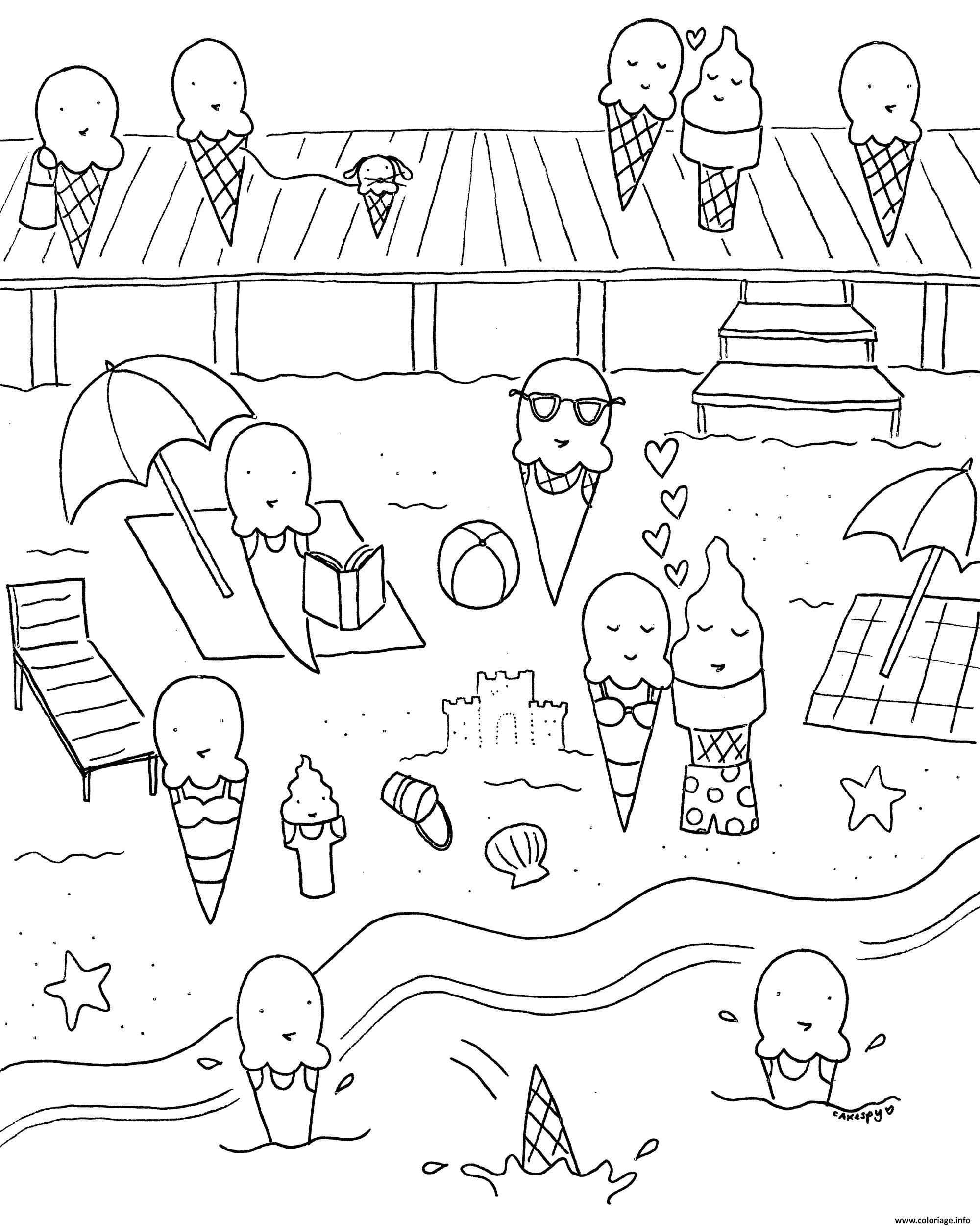 Coloriage Nature Plage Creme Glacee Vacances Jecolorie Com