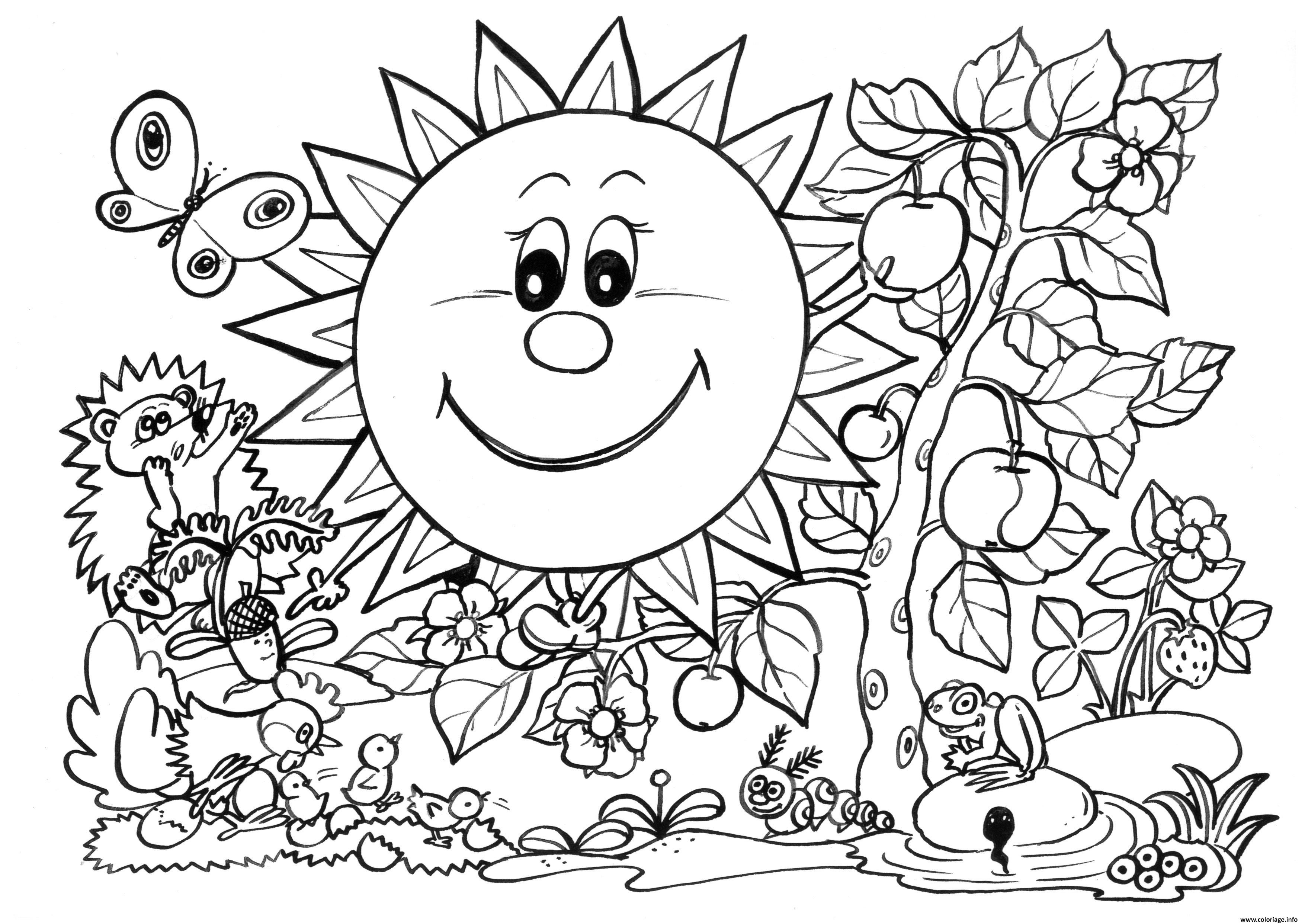 Coloriage Paysage Nature Printemps Enfants Jecoloriecom