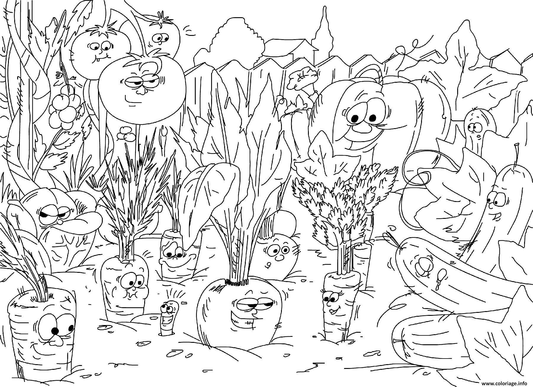Coloriage nature jardin de legumes carottes - JeColorie.com
