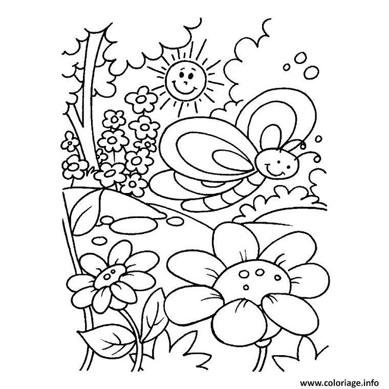 Dessin nature printemps soleil fleurs Coloriage Gratuit à Imprimer