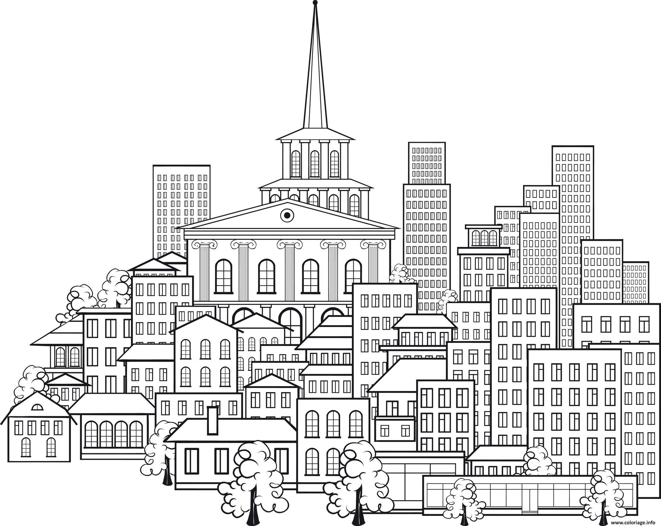 Coloriage paysage urbain ville - Dessin a colorier paysage ...