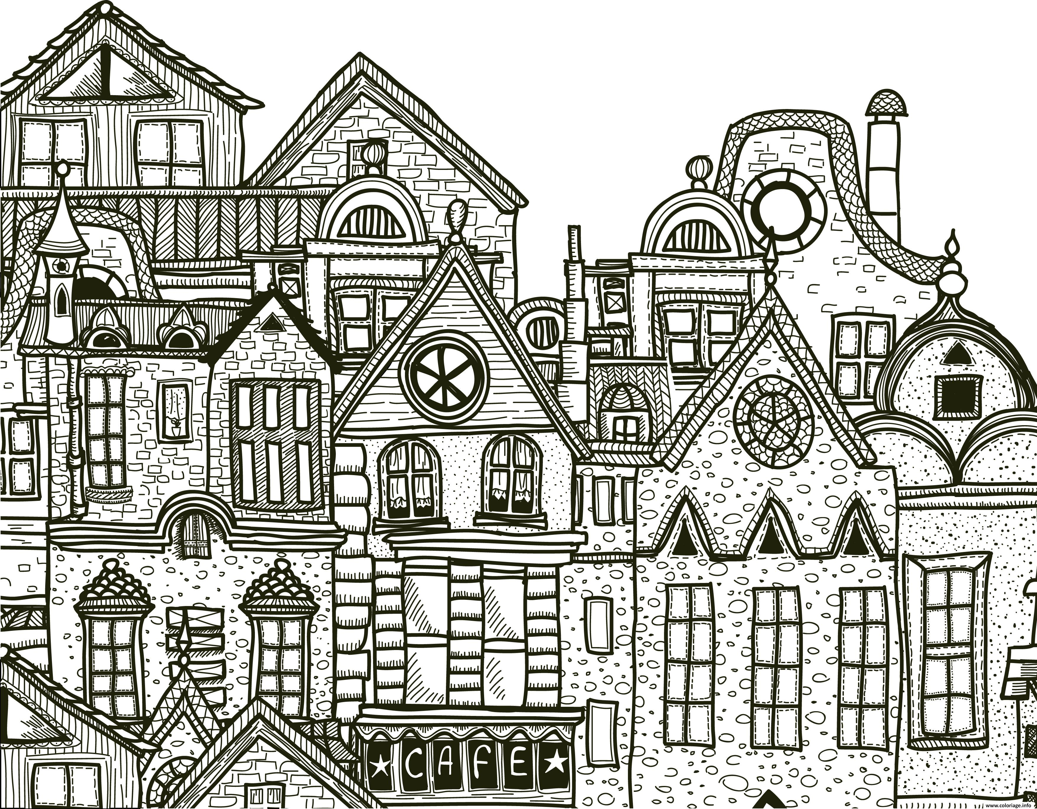 Coloriage ville detaille complexe adulte cafe par - Coloriage ville ...