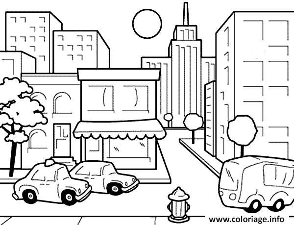 Coloriage centre ville dessin enfants avec taxi - Coloriage ville ...