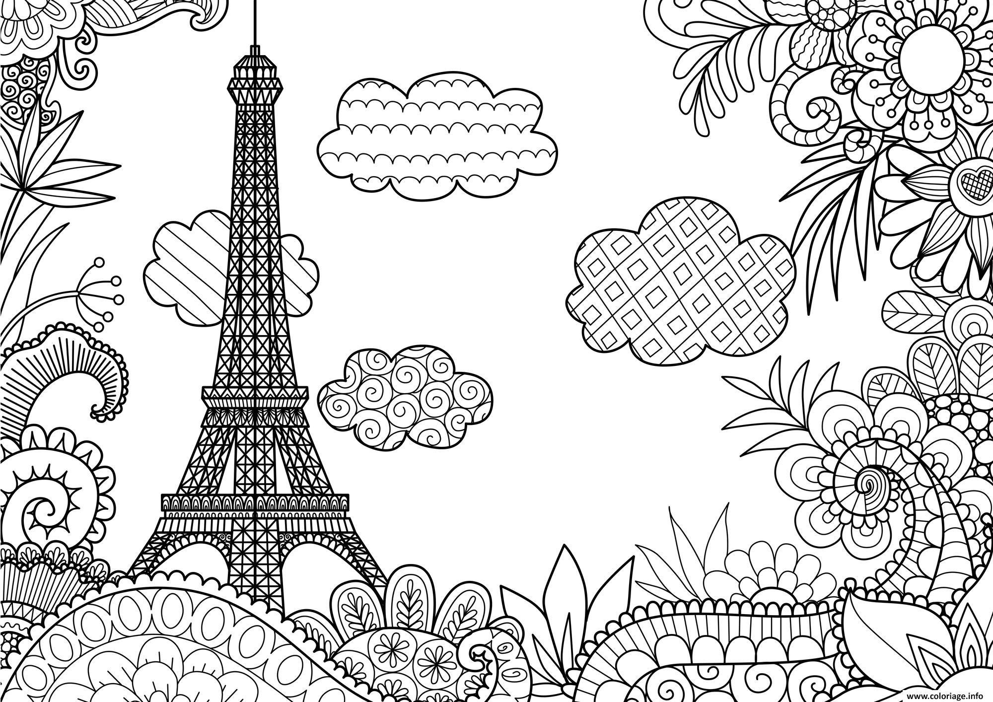 Parijs Kleurplaat Coloriage Ville De Paris Tour Effeil France Adulte