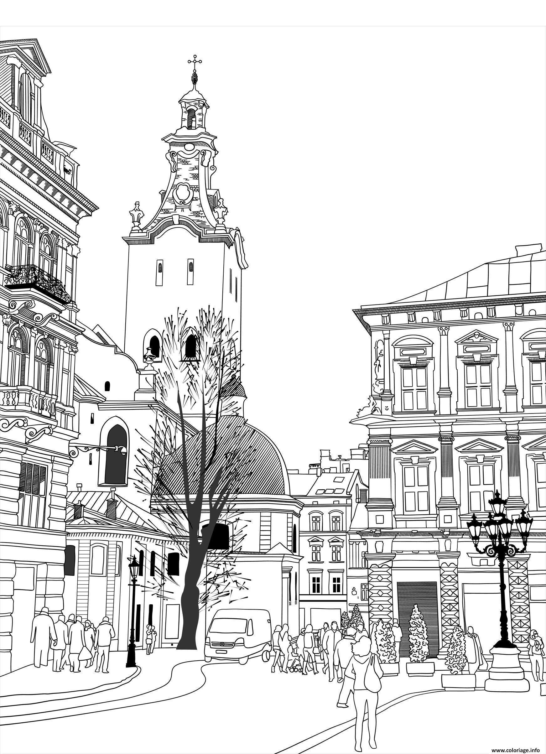Coloriage Architecture Ville Batiments Ukraine Dessin