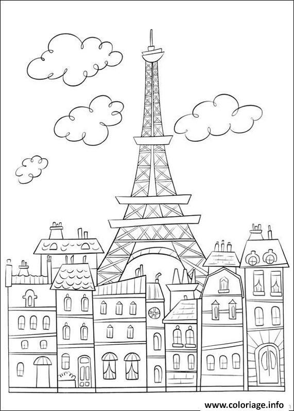 Dessin ville de paris france Coloriage Gratuit à Imprimer