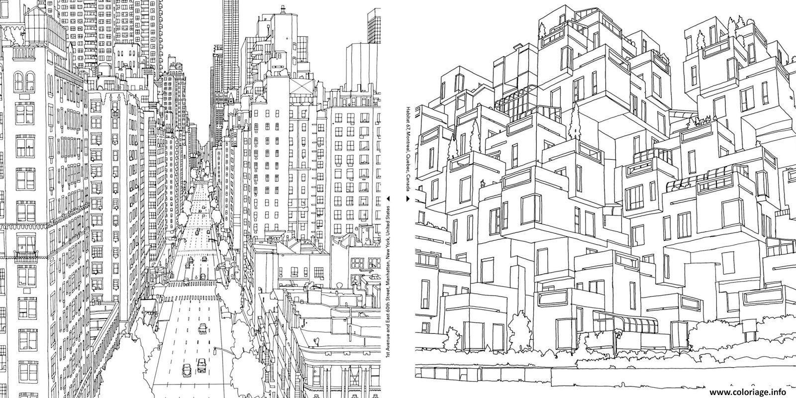 Coloriage Gratuit A Imprimer New York.Coloriage Deux Villes Complexes Et Differentes Jecolorie Com
