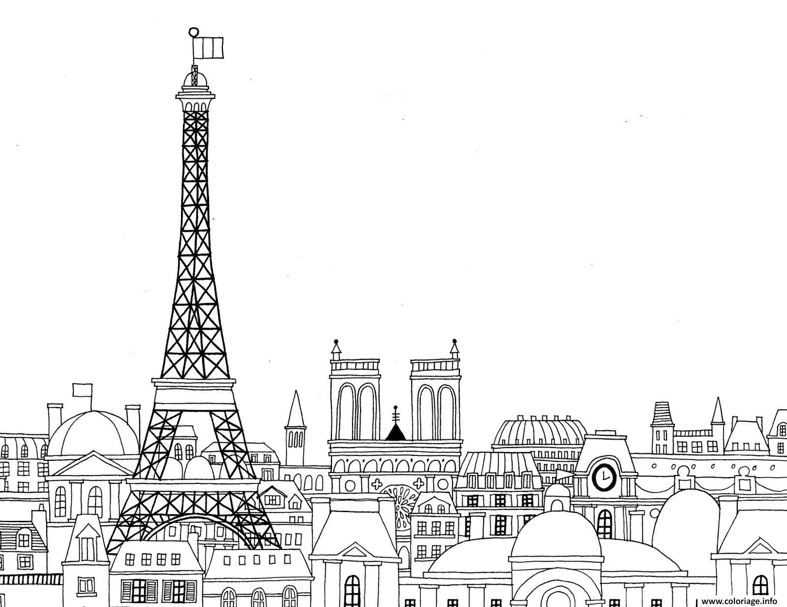 Coloriage Paris Ville De France Paysage Jecolorie Com