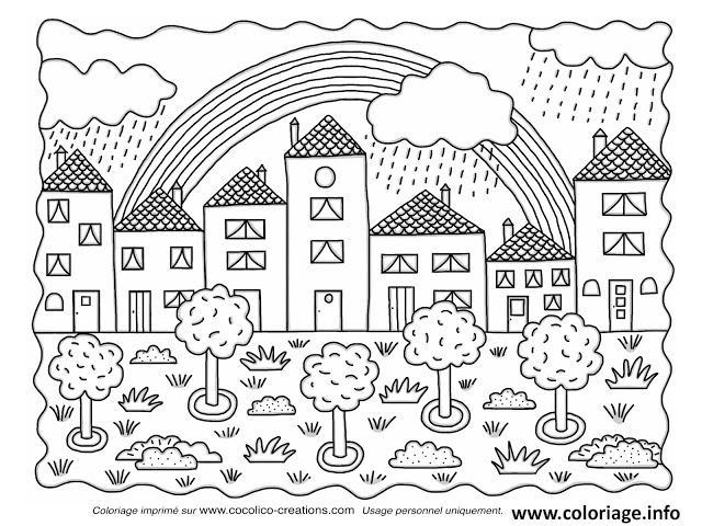 Coloriage paysage ville nature et arc en ciel dessin - Dessin a colorier paysage ...