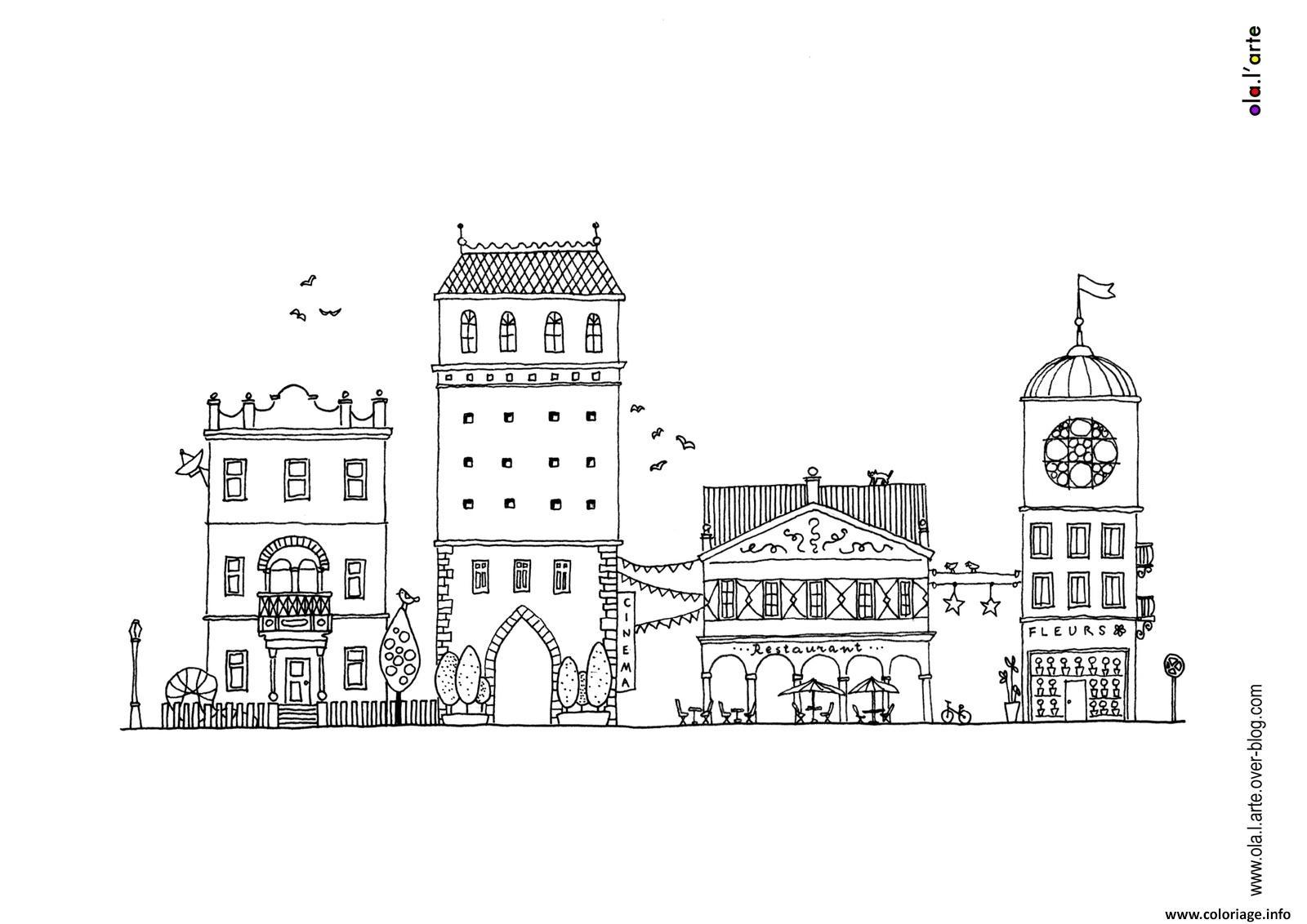 Dessin ville par aleksandra sobol illustrations Coloriage Gratuit à Imprimer