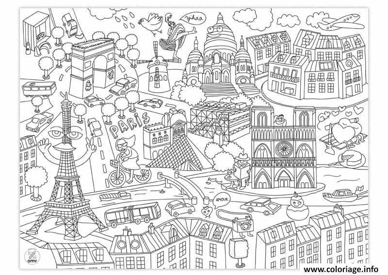 Coloriage Villes De France Paris Et Ville New York Usa Dessin