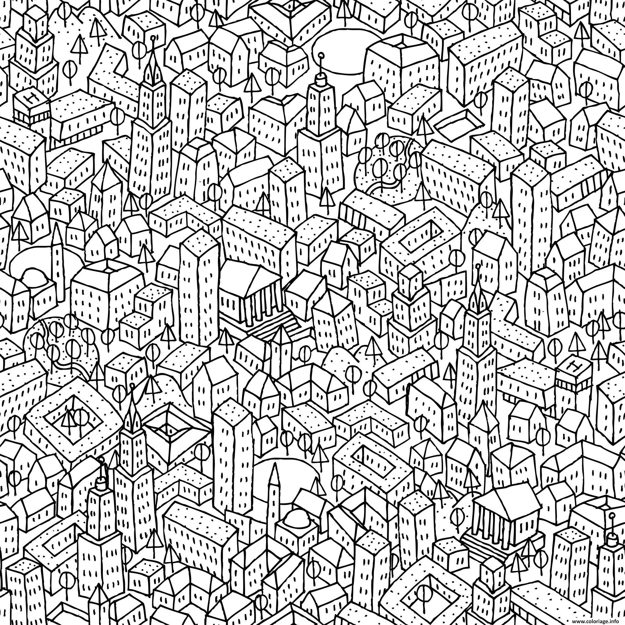 Coloriage anti stress ville paysage dessin - Dessin anti stresse ...