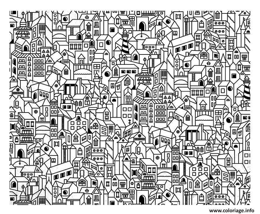 Dessin architecture ville complexe avec plusieurs batiments Coloriage Gratuit à Imprimer