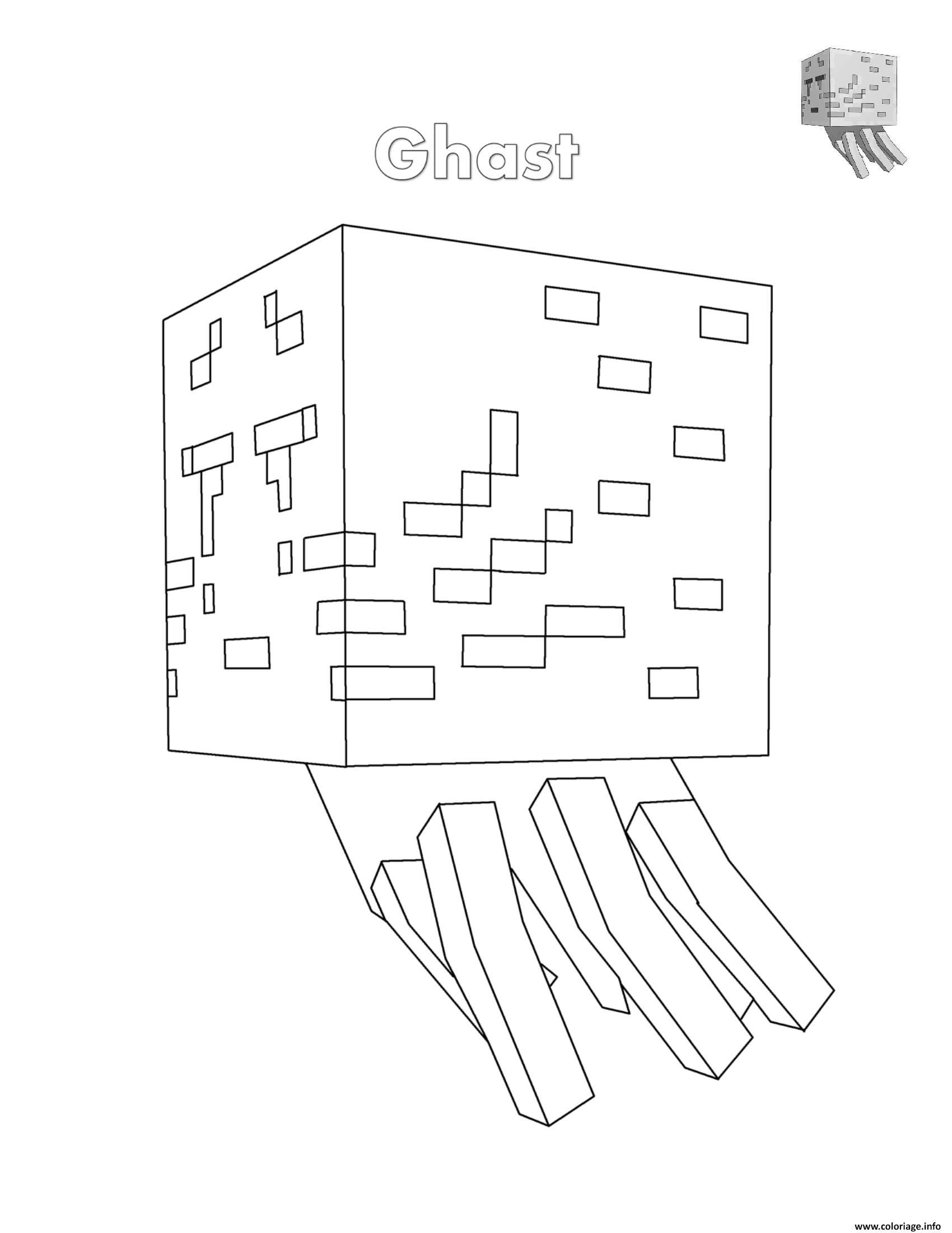 Coloriage Ghast Minecraft Fantome Dessin