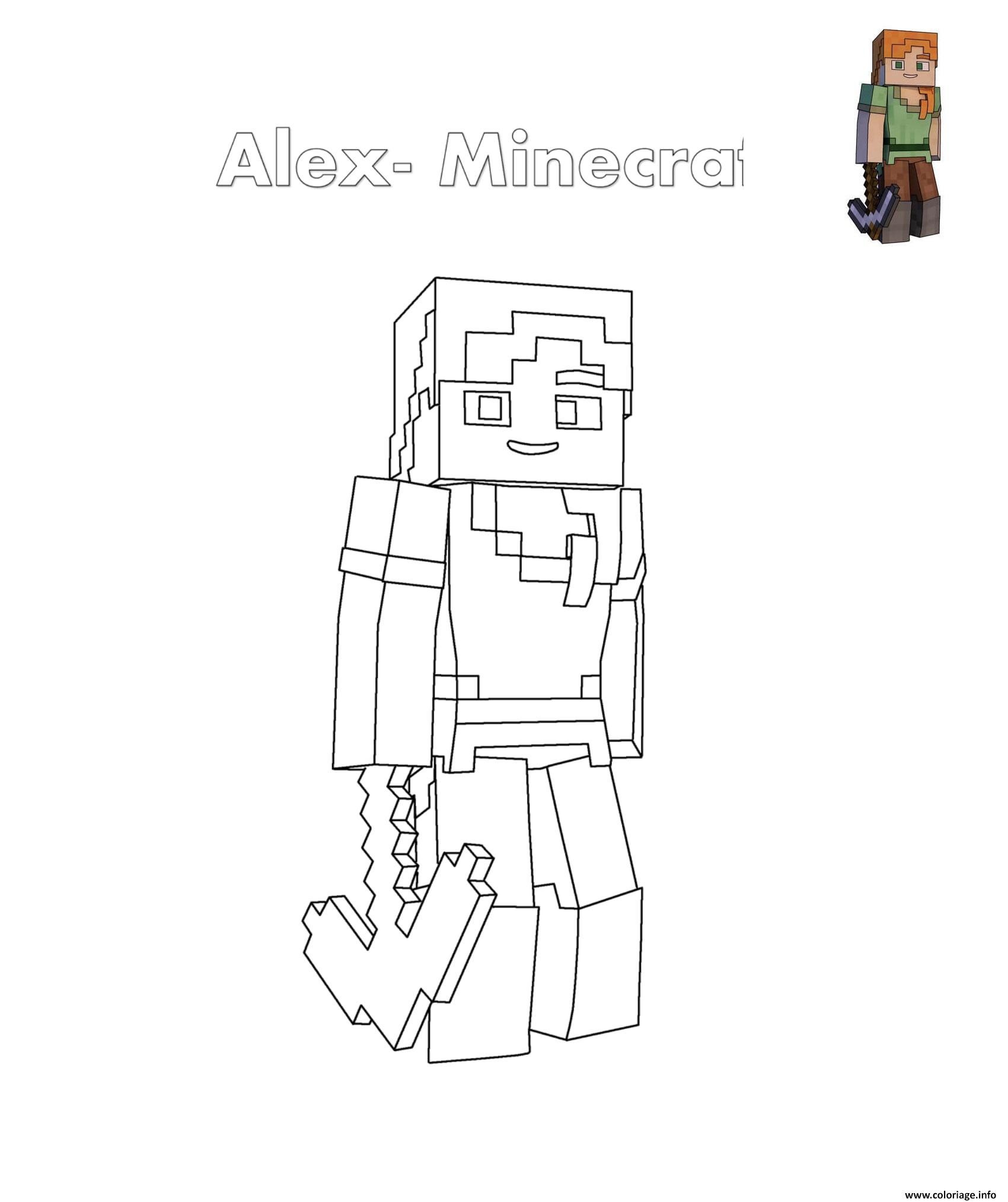 Dessin Alex de minecraft Coloriage Gratuit à Imprimer