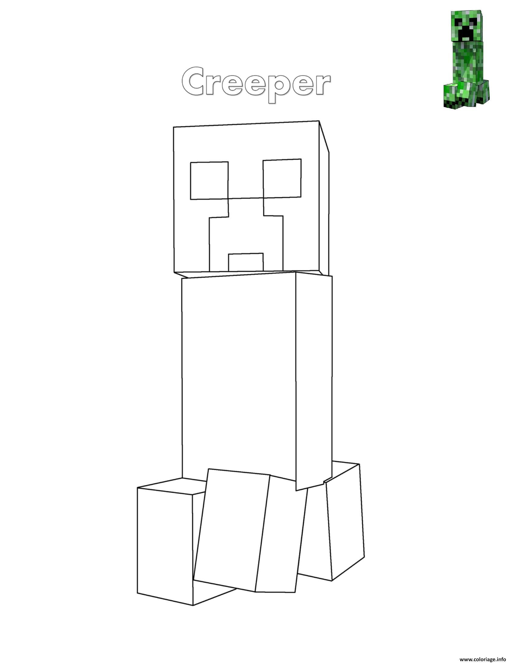 Dessin Creeper de minecraft Coloriage Gratuit à Imprimer