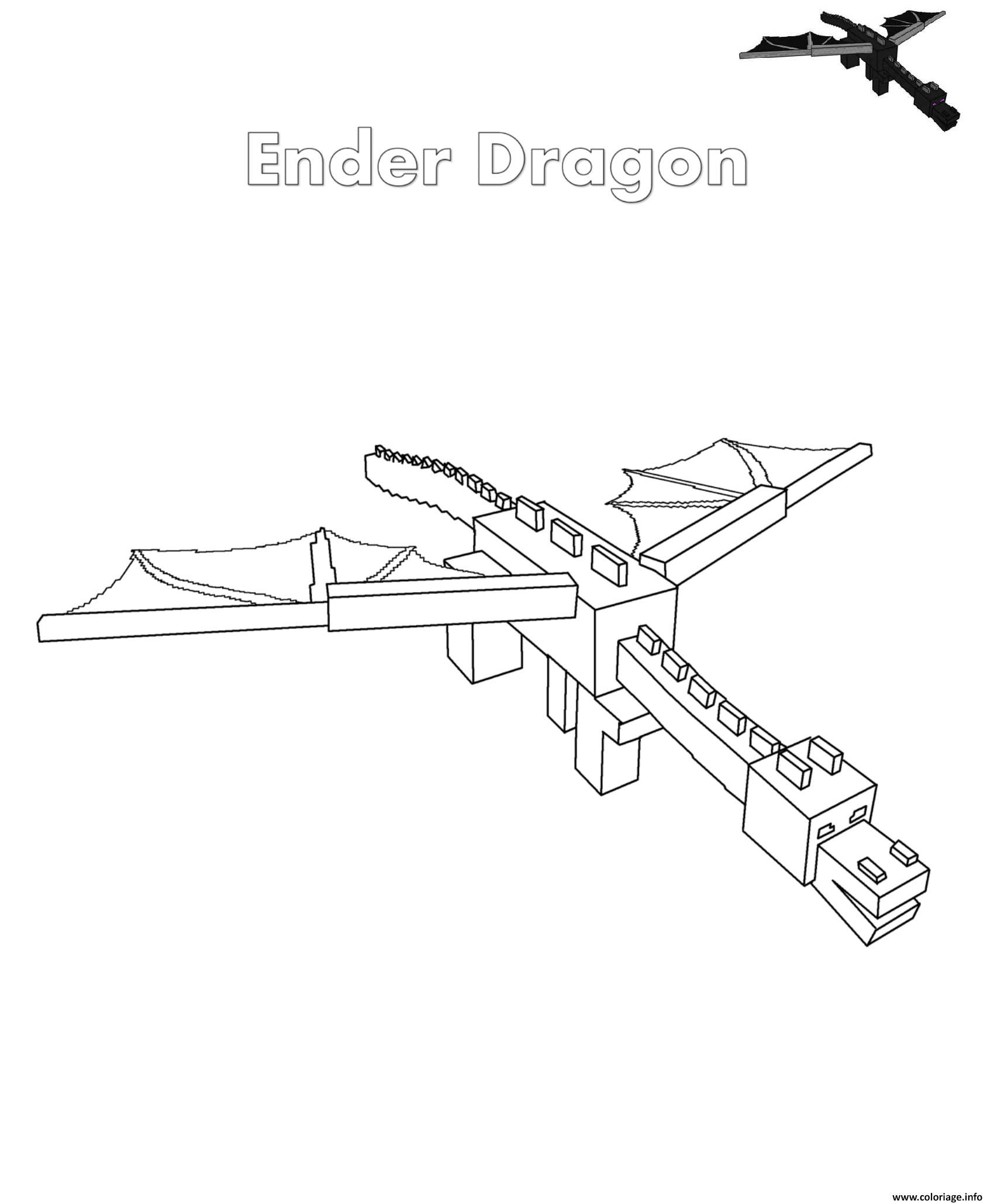 Dessin ender dragon minecraft Coloriage Gratuit à Imprimer