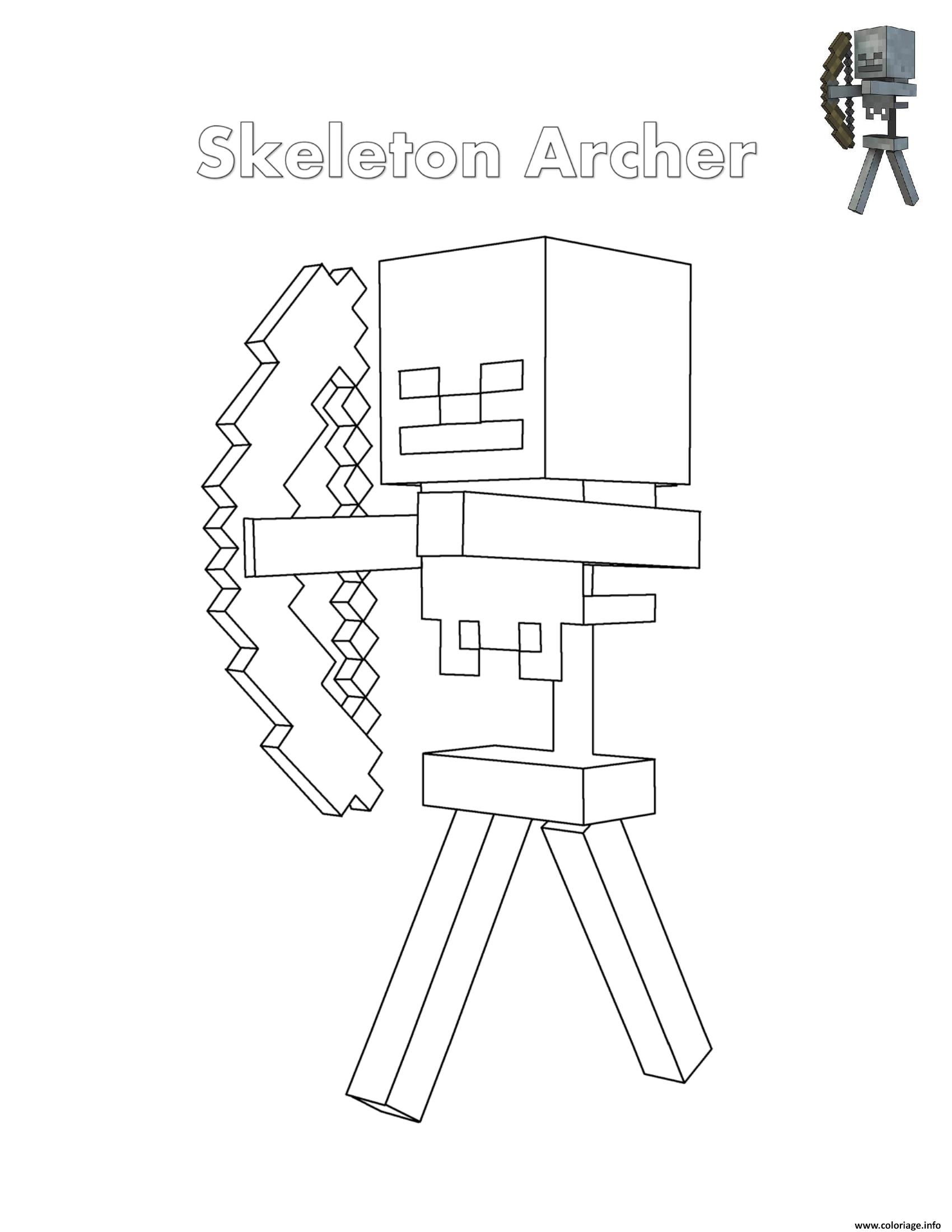 Coloriage Skeleton Archer Minecraft Dessin