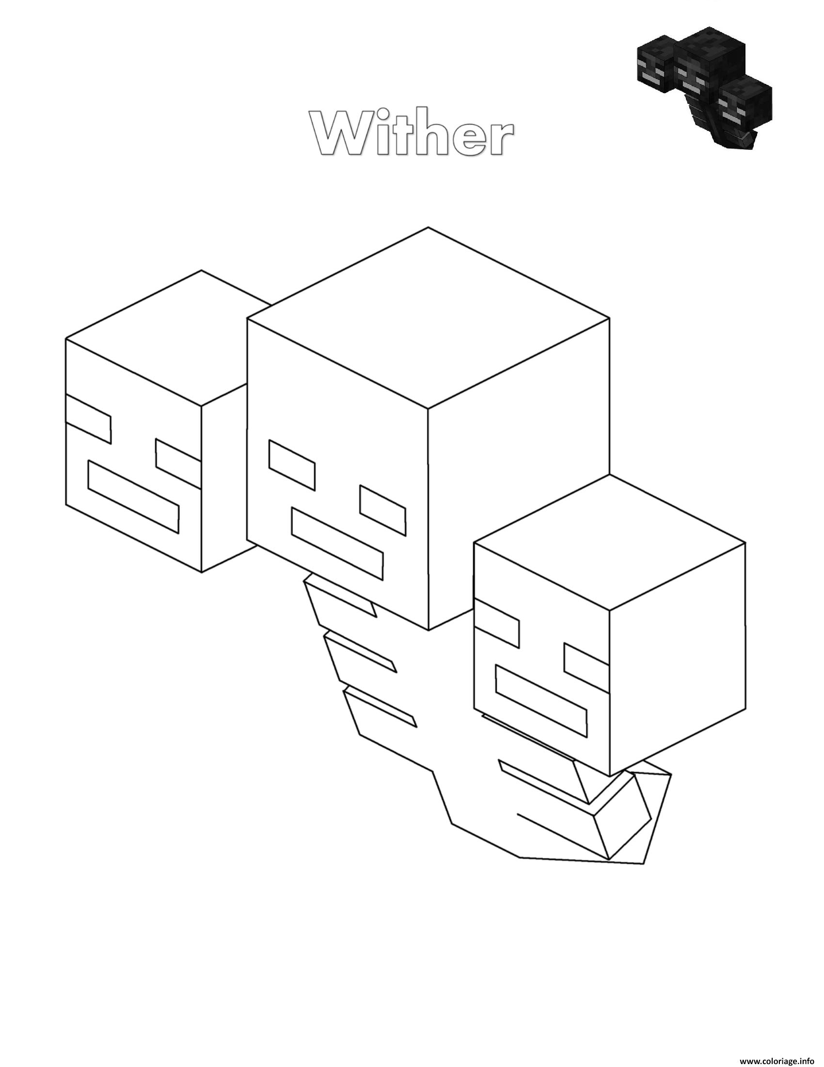 Dessin wither minecraft Coloriage Gratuit à Imprimer