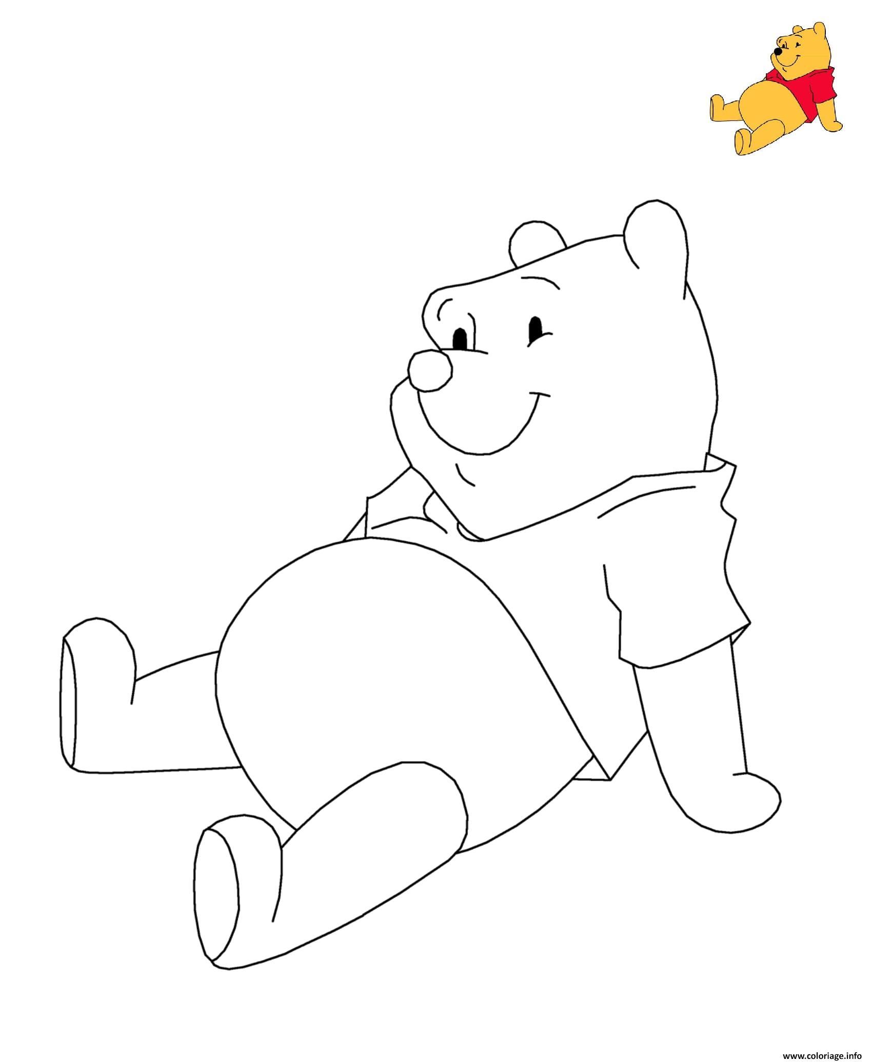 Dessin Winnie Ourson the Pooh Disney Coloriage Gratuit à Imprimer