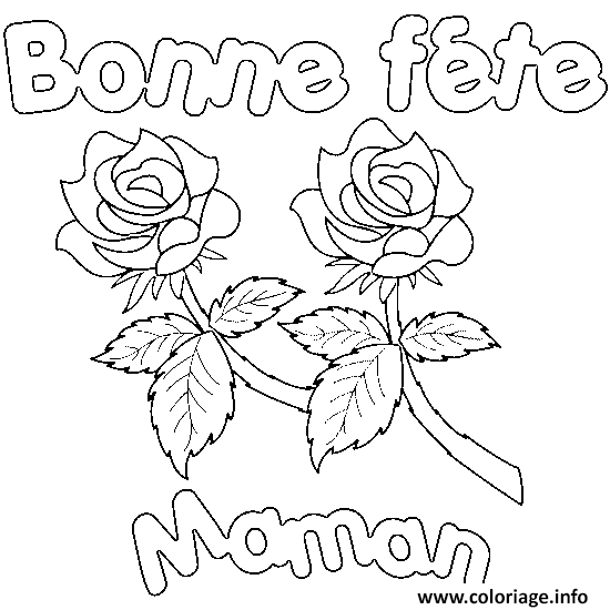 Coloriage bonne fete maman roses - Coloriage de maman ...