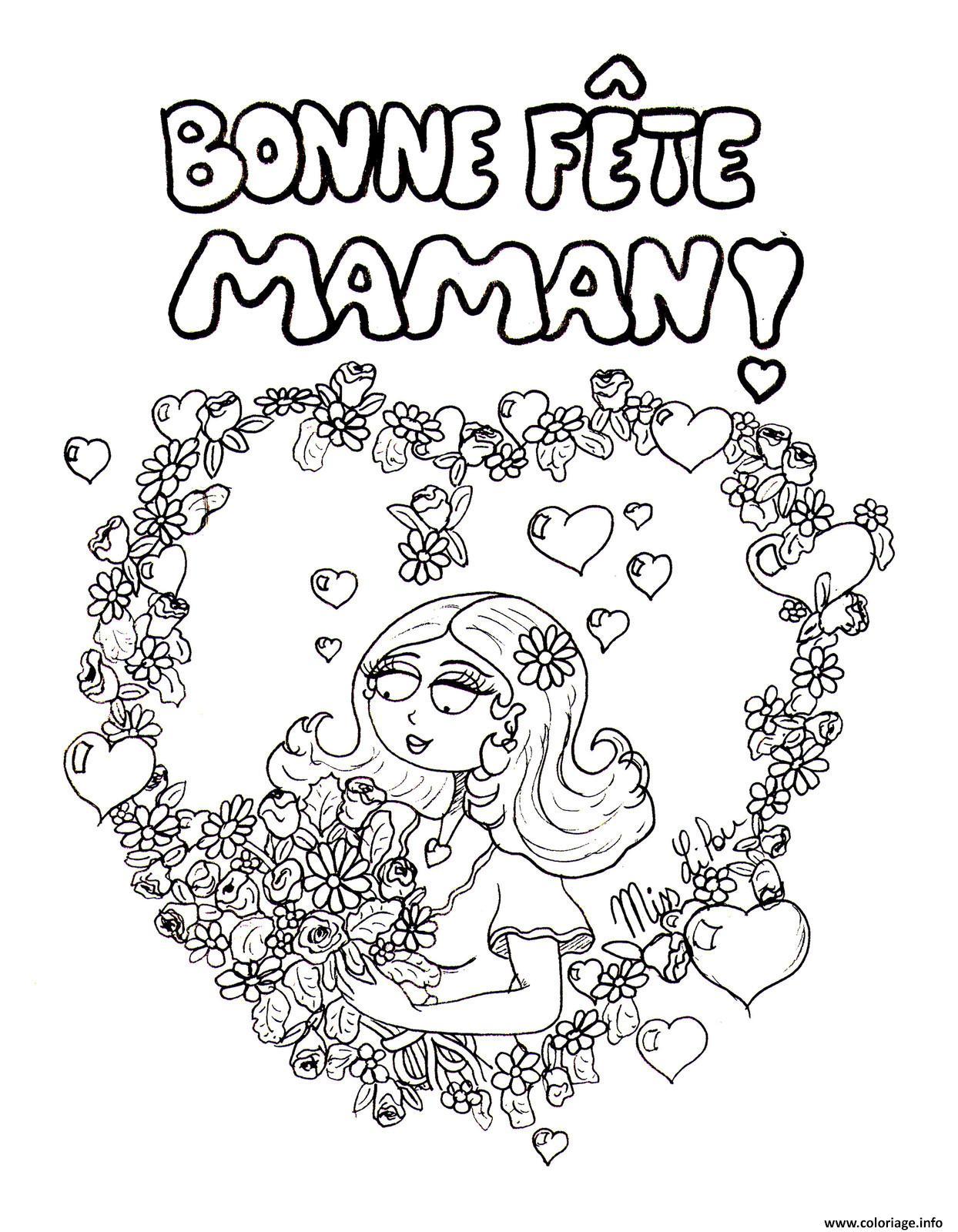 Coloriage bonne fete mama roses coeur fete des meres dessin - Coloriage de fete des meres a imprimer ...