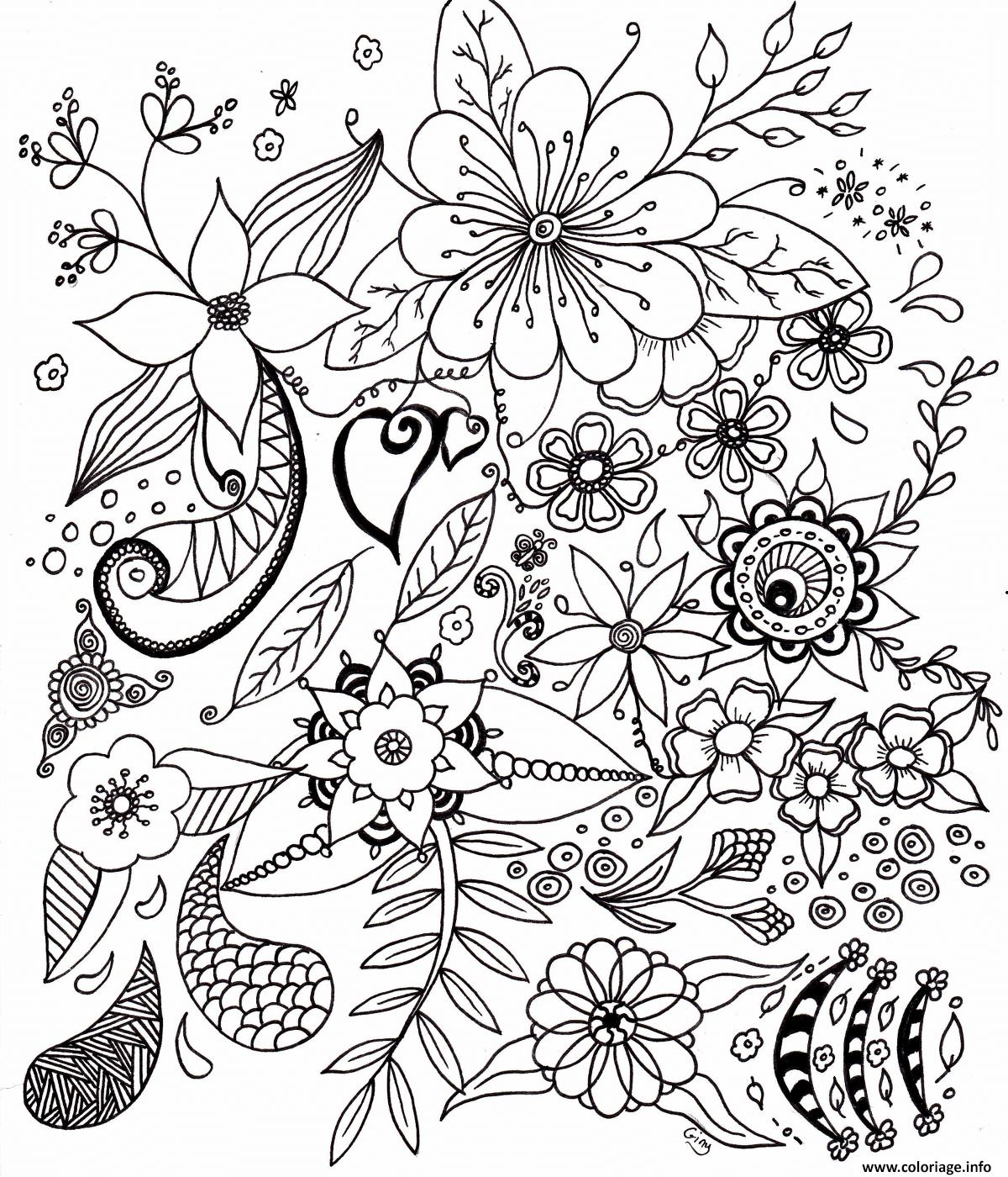 Coloriage fleurs simples pour adulte dessin - Fleur en coloriage ...