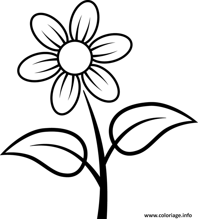 Coloriage Fleur Facile Simple Dessin à Imprimer