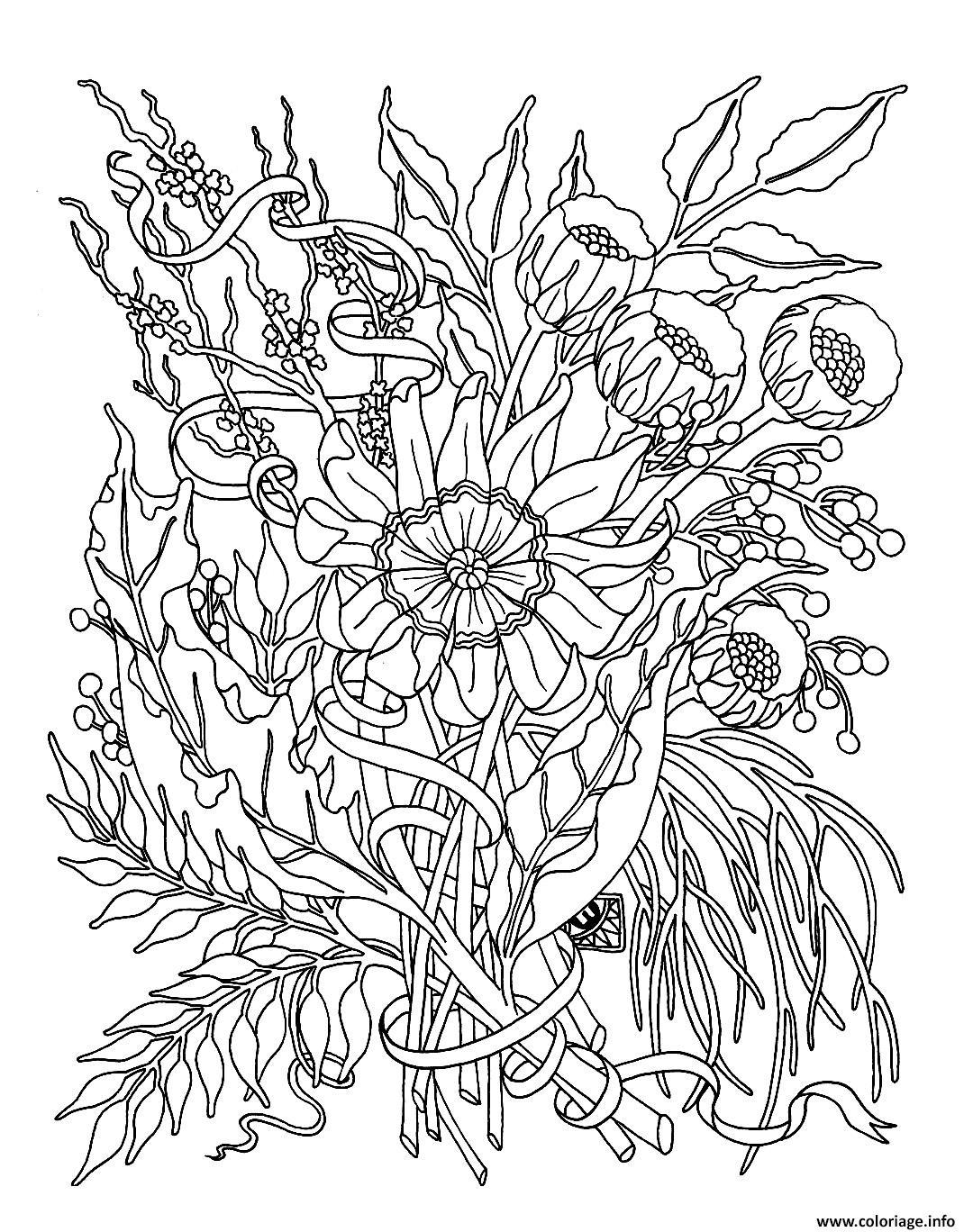 Coloriage Fleurs Exotiques Realistes Dessin à Imprimer