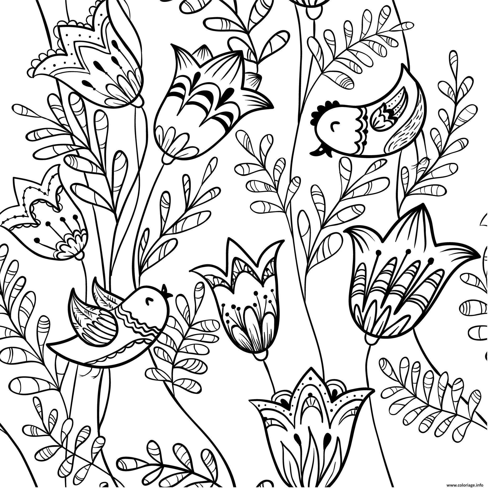 Coloriage Fleurs Exotiques Avec Des Oiseaux Dessin