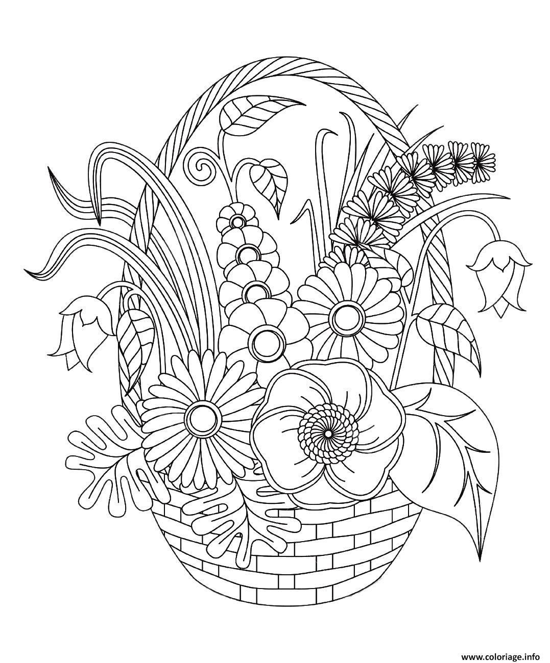 Coloriage Adulte Fleurs Variees Dans Un Panier Jecolorie Com