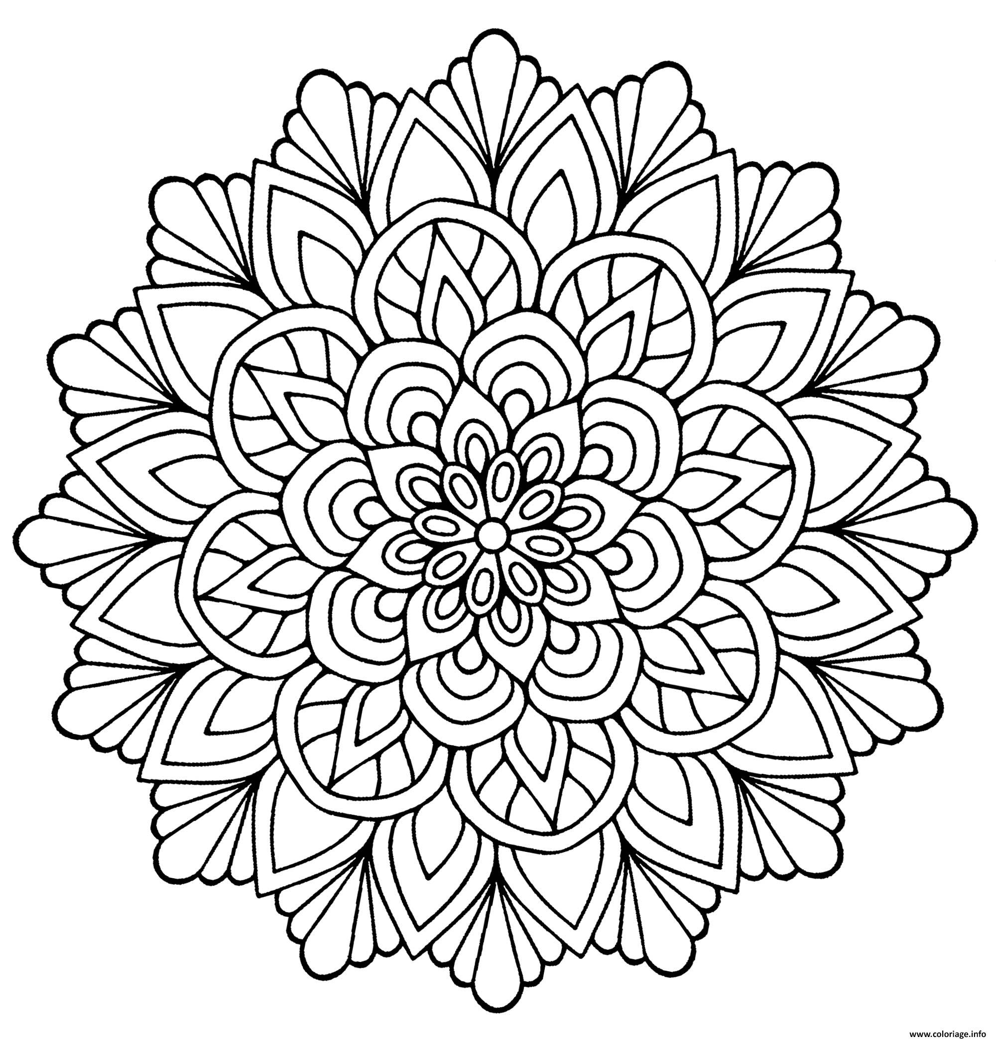 Coloriage De Mandala Fleur.Coloriage Mandala Fleur Avec Feuilles Jecolorie Com