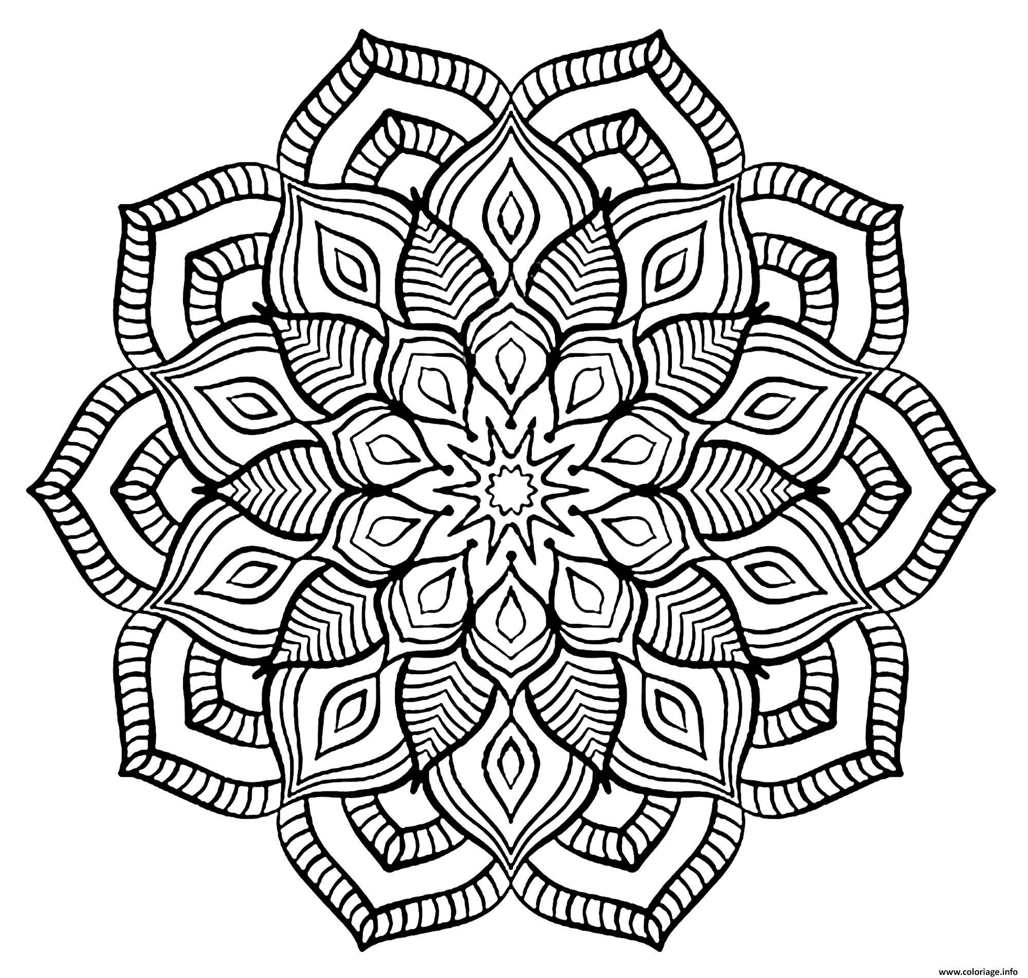 Coloriage Mandala Adulte Fleurs Relaxation Dessin Fleurs A Imprimer