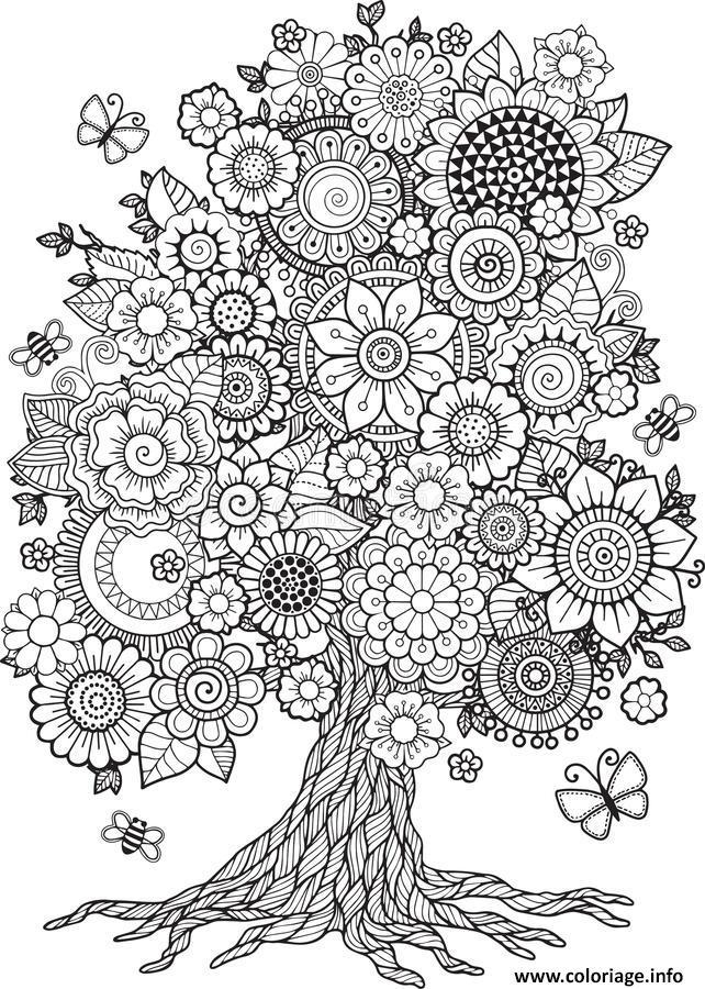 Dessin arbre de fleurs floral printemps Coloriage Gratuit à Imprimer