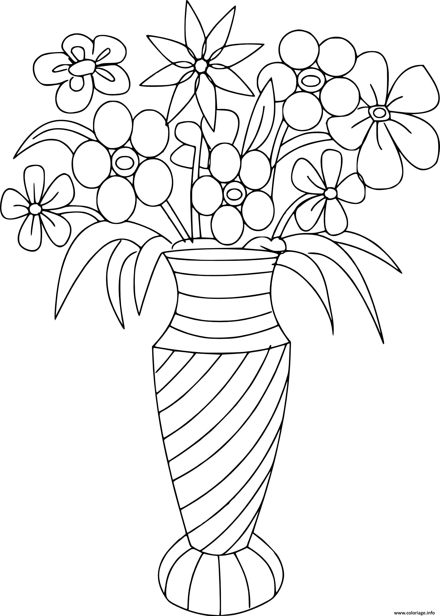 Coloriage bouquet de fleurs dans un pot - Dessiner un vase ...