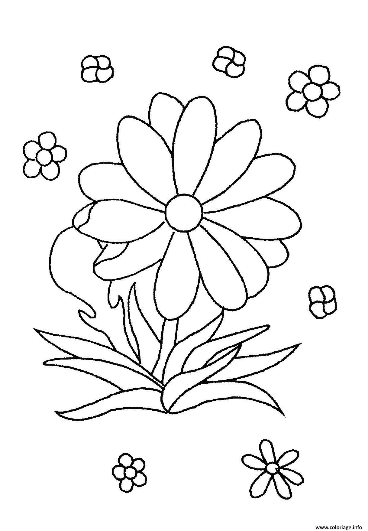 Coloriage Fleur Simple Facile Maternelle Dessin