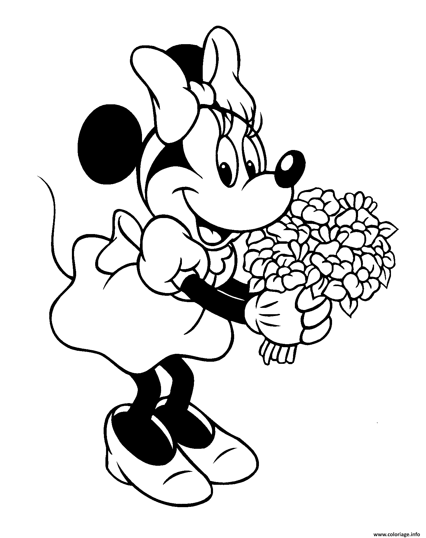 Coloriage A Imprimer Minnie.Coloriage Minnie Mouse Bouquet De Fleurs Disney Jecolorie Com