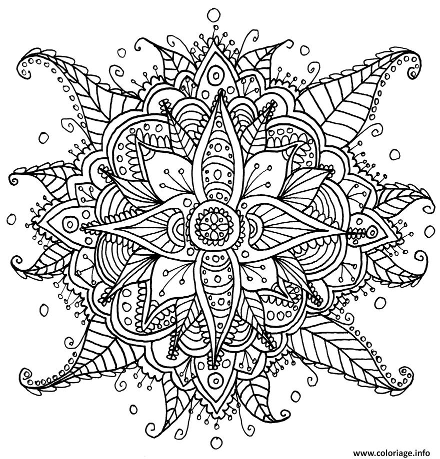 Coloriage mandalas fleurs complexe dessin - Coloriages mandalas fleurs ...