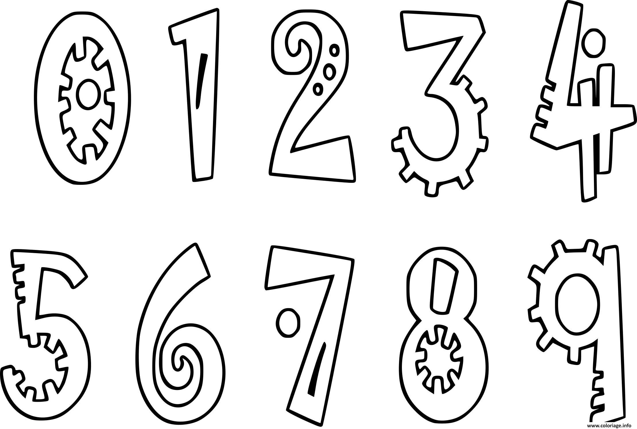 Dessin chiffres 0 a 9 Coloriage Gratuit à Imprimer