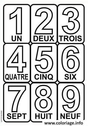 Coloriage chiffre 1 a 9 avec texte - Dessin de chiffre ...