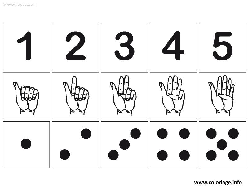 Dessin chiffre 1 a 5 avec illustration main chiffre points Coloriage Gratuit à Imprimer