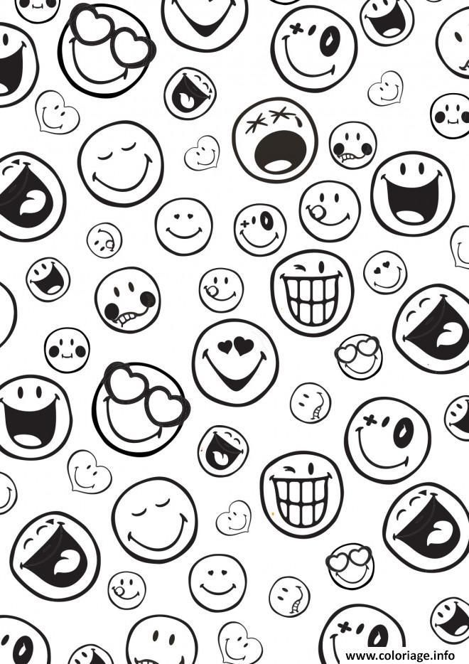 Coloriage liste smiley coeur content rire - JeColorie.com