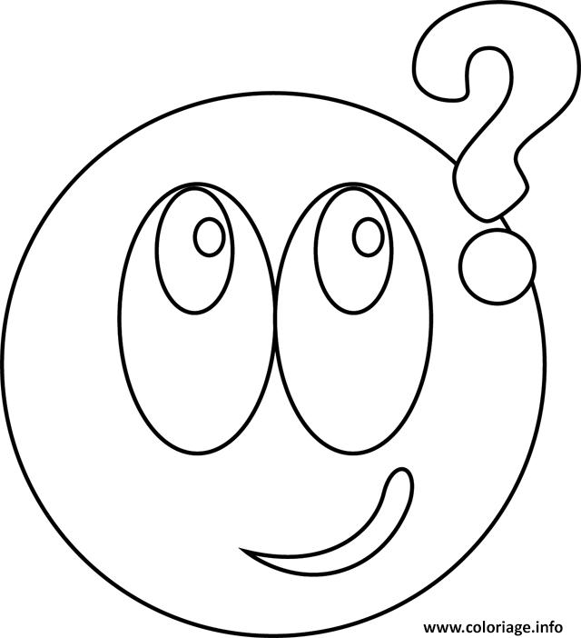 Dessin smiley interrogatif Coloriage Gratuit à Imprimer