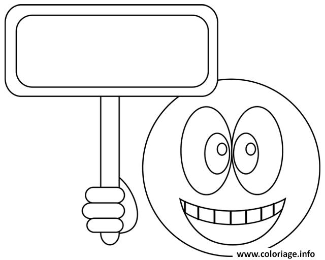 Dessin smiley pancarte Coloriage Gratuit à Imprimer