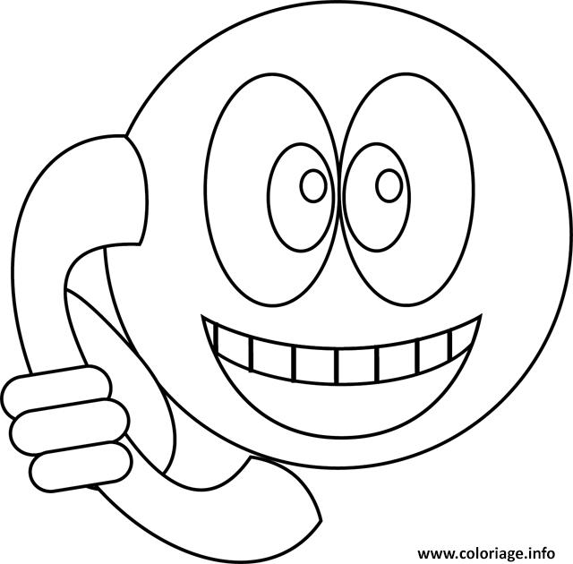 Dessin smiley telephone Coloriage Gratuit à Imprimer