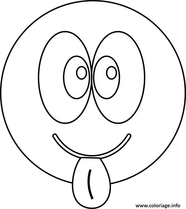 Coloriage Smiley Tire La Langue dessin