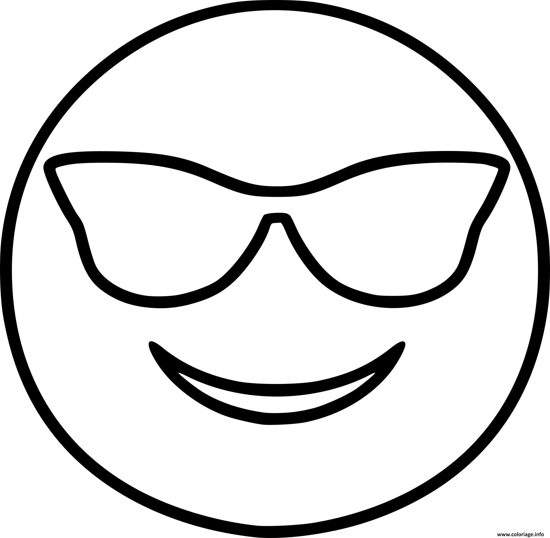 Coloriage Smiley Emoji Cool Dessin à Imprimer