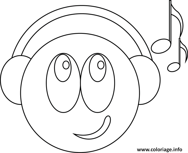 Coloriage Smiley.Coloriage Smiley Musicien Jecolorie Com